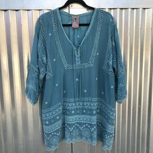Johnny Was embroidered eyelet tunic top